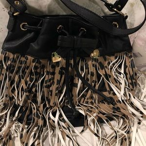 Betsey Johnson Fringy Party Leopard bucket bag